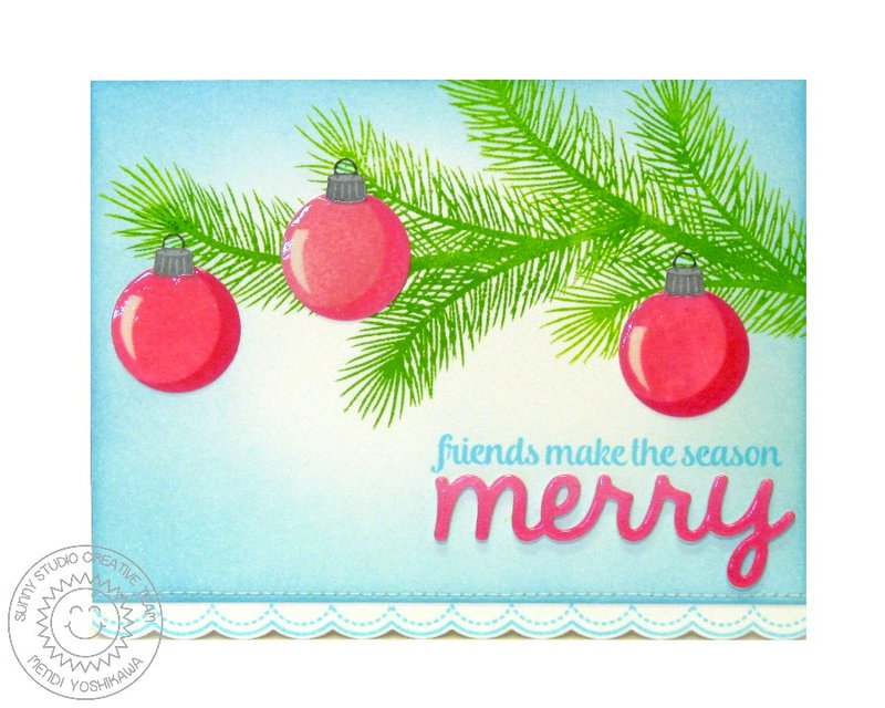 Sunny Studio Holiday Style Ornament Christmas Card by Mendi