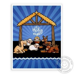 Sunny Studio Holy Night Nativity Christmas Card by Mendi Yoshikawa