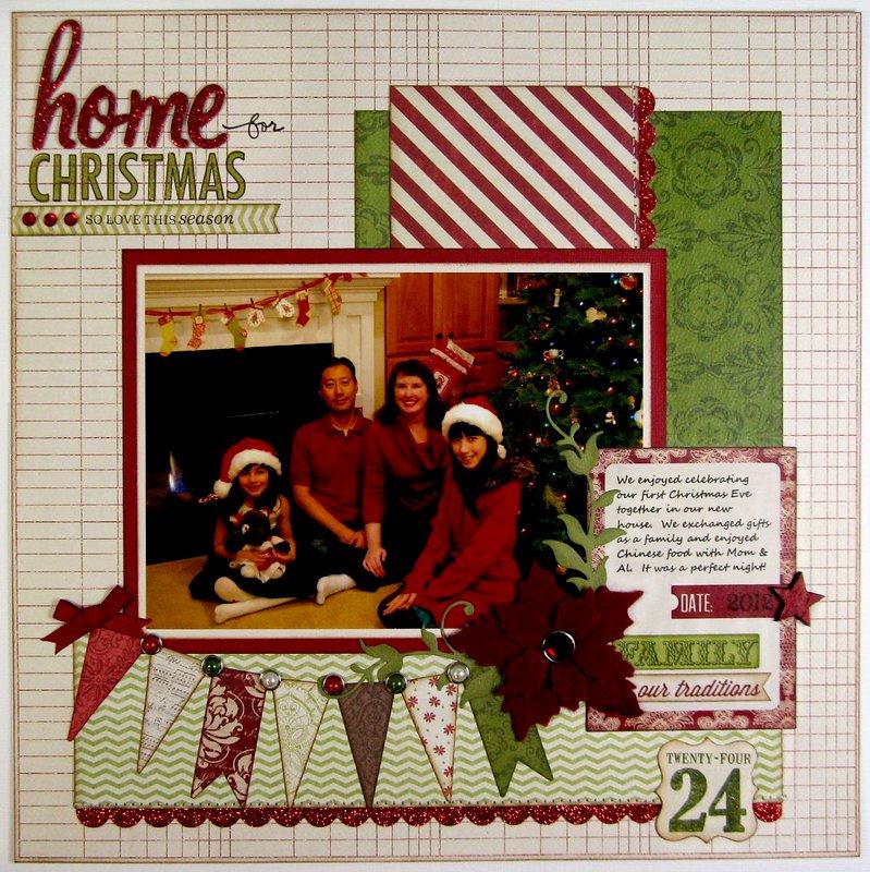 Teresa Collins Christmas Cottage Layout by Mendi Yoshikawa