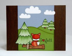 A Lawn Fawn Fall Fox Scene Card by Mendi Yoshikawa