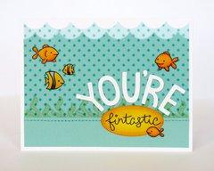 Lawn Fawn Fintastic Friends Fish card by Mendi Yoshikawa