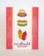 Lawn Fawn Let's BBQ Ketchup Card by Mendi Yoshikawa