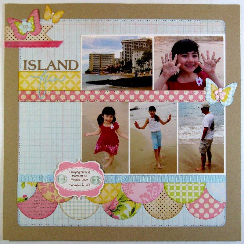 """A Girls Paperie """"Island Fun"""" Layout by Mendi Yoshikawa"""