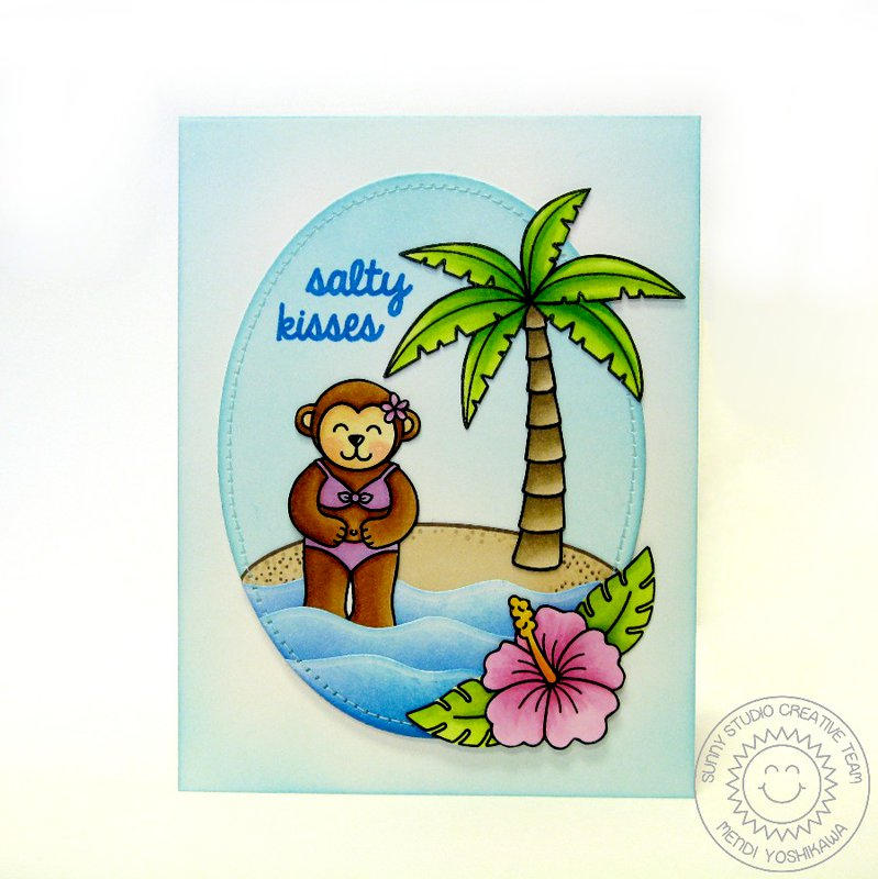Sunny Studio Island Getaway Monkey Card by Mendi Yoshikawa