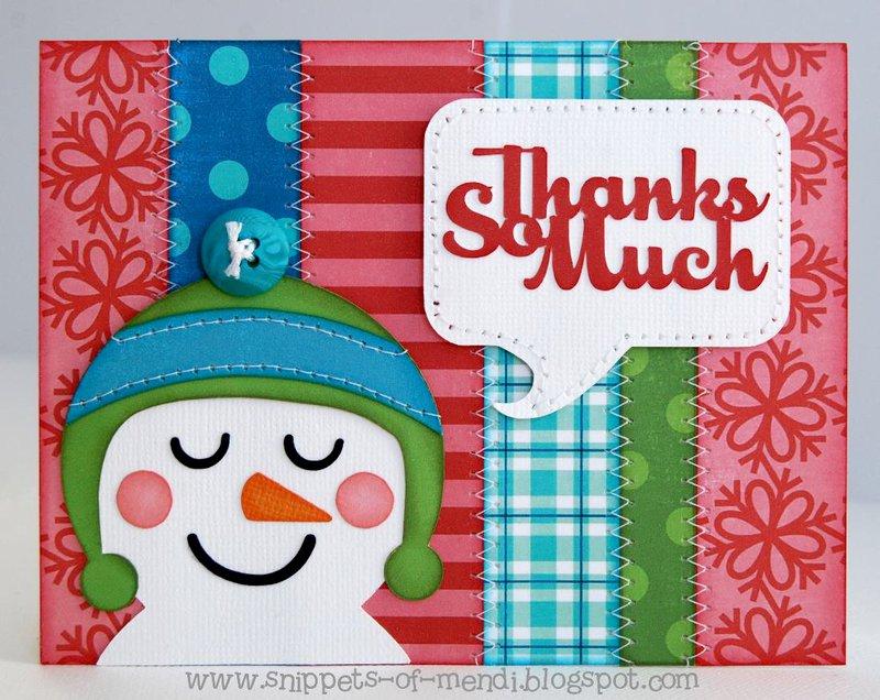 Lori Whitlock Frosty Snowman Thank you Cards by Mendi Yoshikawa