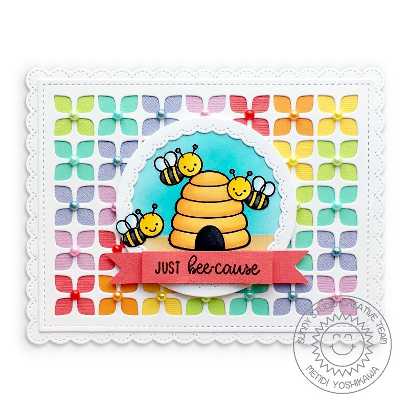 Sunny Studio Just Bee-Cause Card by Mendi Yoshikawa