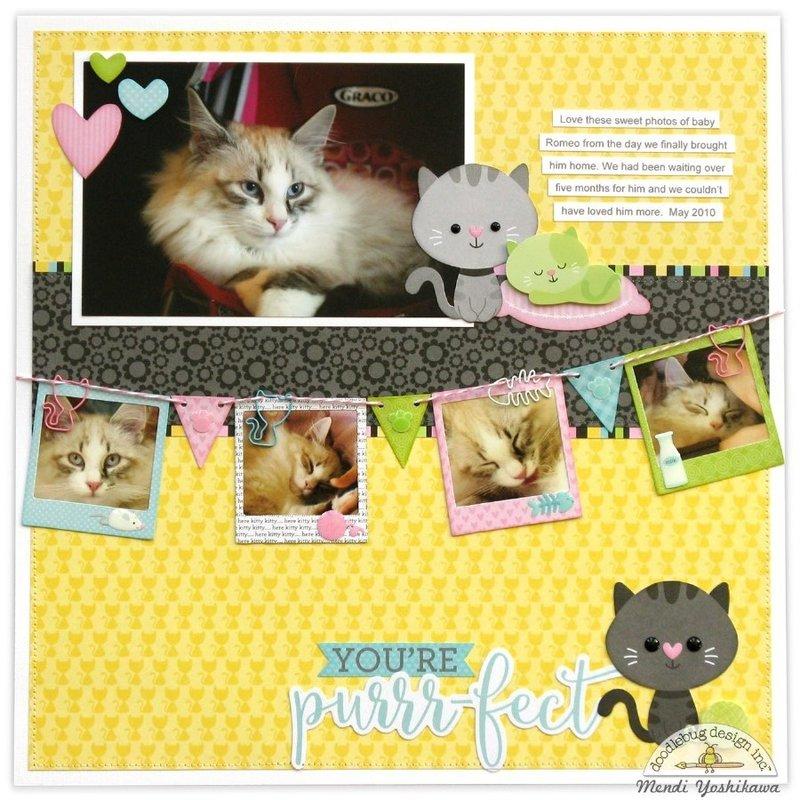 Doodlebug Kitten Smitten Layout by Mendi Yoshikawa