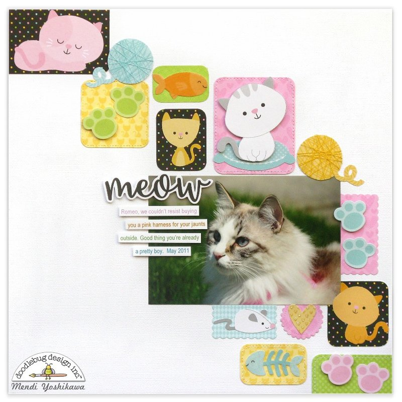 Doodlebug Kitten Smitten Cat Scrapbook Layout by Mendi Yoshikawa