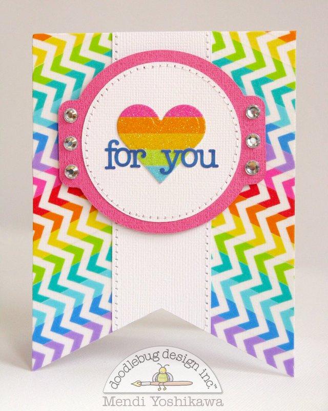 Doodlebug Washi Tape Pennant Card by Mendi Yoshikawa