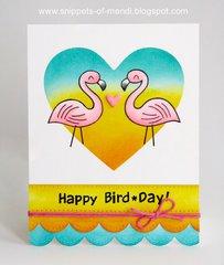 Lawn Fawn Flamingo Birthday Card by Mendi Yoshikawa
