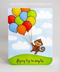 Lawn Fawn Monkey Birthday Card by Mendi Yoshikawa