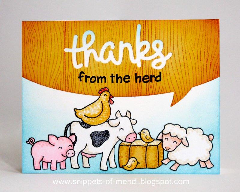 Lawn Fawn Thanks from The Herd Card by Mendi Yoshikawa