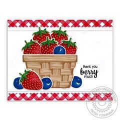 Sunny Studio Layered Basket & Berry Bliss Card by Mendi Yoshikawa