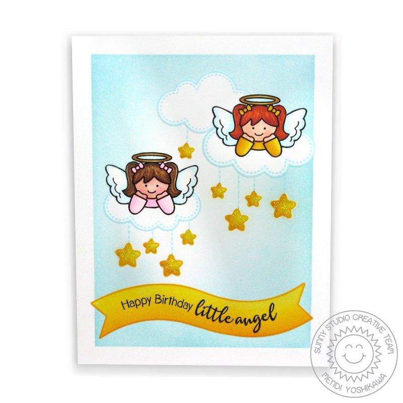 Sunny Studio Little Angels Birthday card by Mendi Yoshikawa
