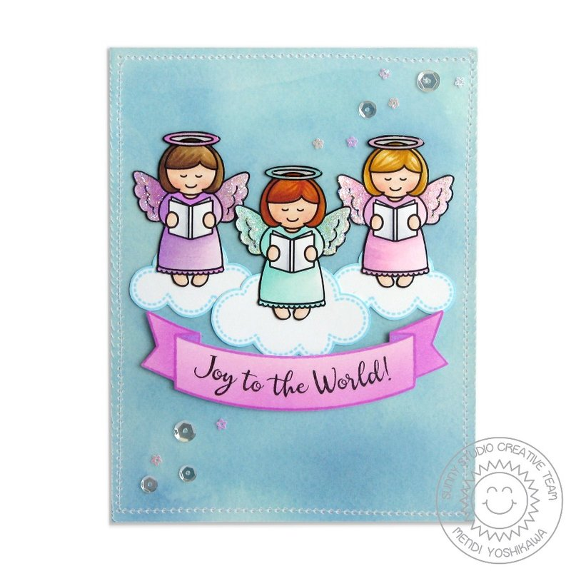 Sunny Studio Little Angels Christmas card by Mendi Yoshikawa