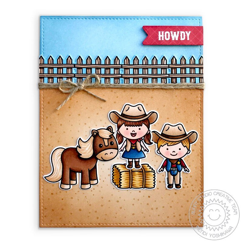Sunny Studio Little Buckaroo Card by Mendi Yoshikawa