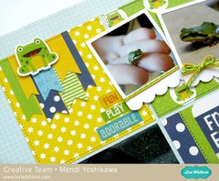Echo Park Little Man Frog Layout by Mendi Yoshikawa