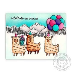 Sunny Studio Lovable Llama Birthday Card by Mendi Yoshikawa