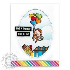 Sunny Studio Love Monkey Balloon Card by Mendi Yoshikawa