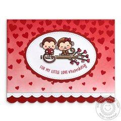 Sunny Studio Love Monkey Valentine's Day Card by Mendi Yoshikawa