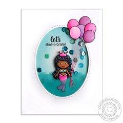 Sunny Studio Magical Mermaids Shaker Card by Mendi Yoshikawa