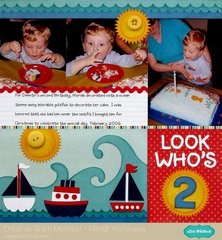Lori Whitlock Sailboat Birthday Layout by Mendi Yoshikawa