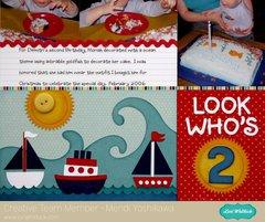 Lori Whitlock Sailboat Birthday Layout by Mendi Yoshikawa