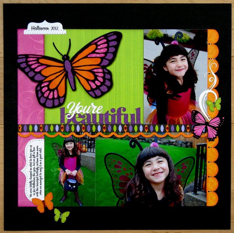 Lori Whitlock Butterfly Fairy Halloween Layout by Mendi Yoshikawa