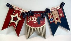Pebbles Let Freedom Ring 4th of July Banner by Mendi Yoshikawa