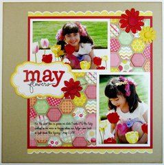 A Pebbles Inc. Hip Hip Hooray Layout by Mendi Yoshikawa