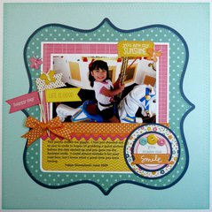 A Pebbles Inc. Sunny Side Layout by Mendi Yoshikawa