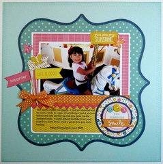 A Pebbles Inc. Sunny Side Layout by Mendi Yoshikawa