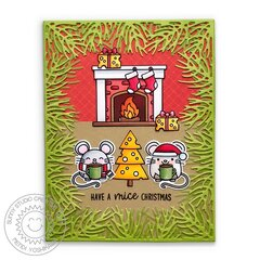 Sunny Studio Merry Mice Mouse Christmas Card by Mendi Yoshikawa