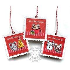 Sunny Studio Merry Mice Mouse Christmas Card by Mendi Yoshikawa