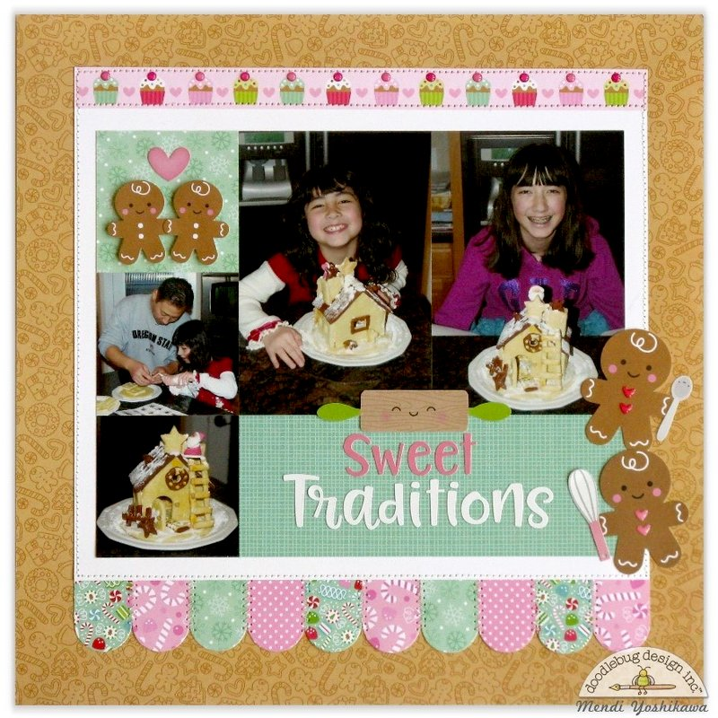 Doodlebug Milk & Cookie Traditions Layout by Mendi Yoshikawa
