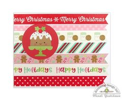 Doodlebug Milk & Cookies Washi Tape Christmas Cards by Mendi Yoshikawa