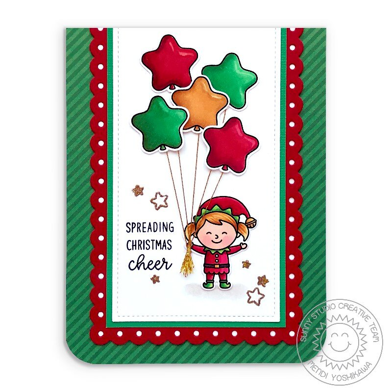 Sunny Studio North Pole Elf Christmas Card by Mendi Yoshikawa