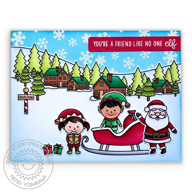 Sunny Studio North Pole Elf Christmas Card by Mendi Yoshikawa