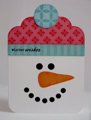 A Snowman Shaped Christmas Card by Mendi Yoshikawa