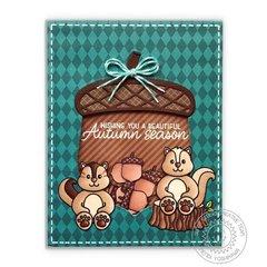 Sunny Studio Nutty For You Acorn Shaker Card by Mendi Yoshikawa