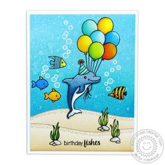 Sunny Studio Oceans of Joy Card by Mendi Yoshikawa