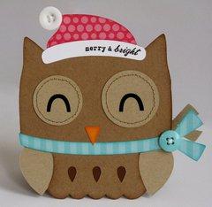 A Santa Owl Shaped Christmas Card by Mendi Yoshikawa