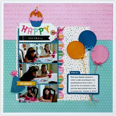 A Pebbles Inc. Birthday Wishes layout by Mendi Yoshikawa