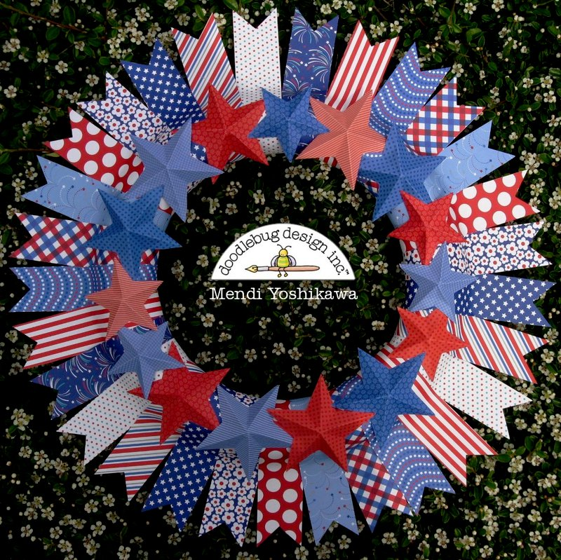 A Doodlebug Patriotic Parade Wreath by Mendi Yoshikawa