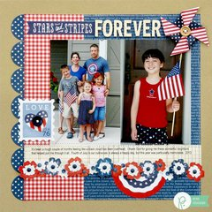 Pebbles Americana 4th of July Layout by Mendi Yoshikawa