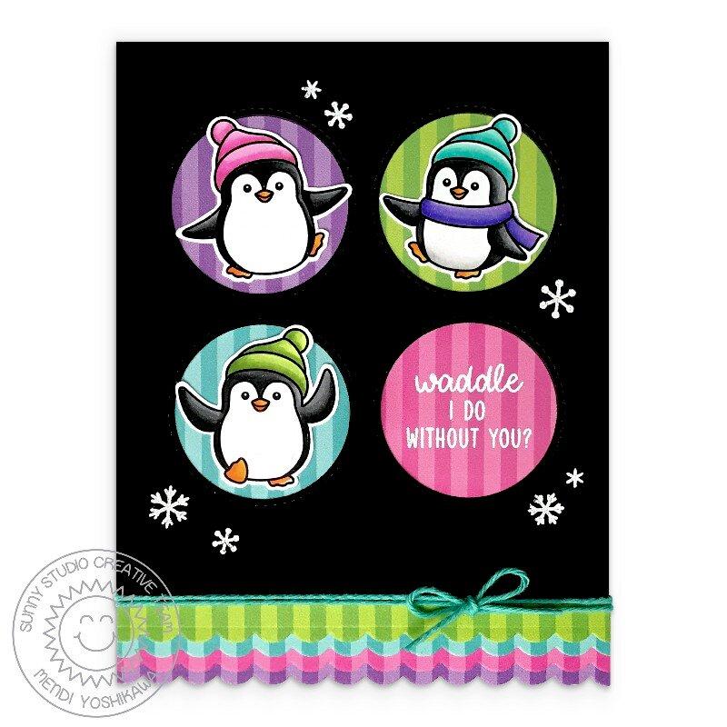 Sunny Studio Penguin Pals Christmas Card by Mendi Yoshikawa