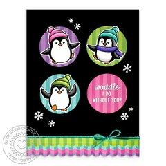 Sunny Studio Penguin Pals Christmas Card by Mendi Yoshikawa