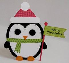 Santa Penguin Shaped Christmas Card by Mendi Yoshikawa