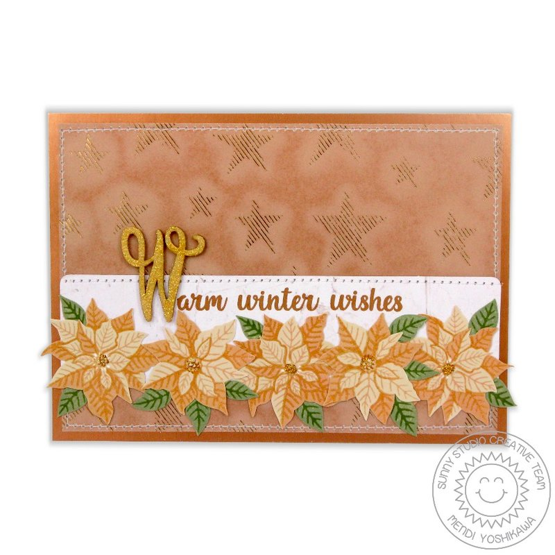 Sunny Studio Petite Poinsettias Christmas Card by Mendi Yoshikawa