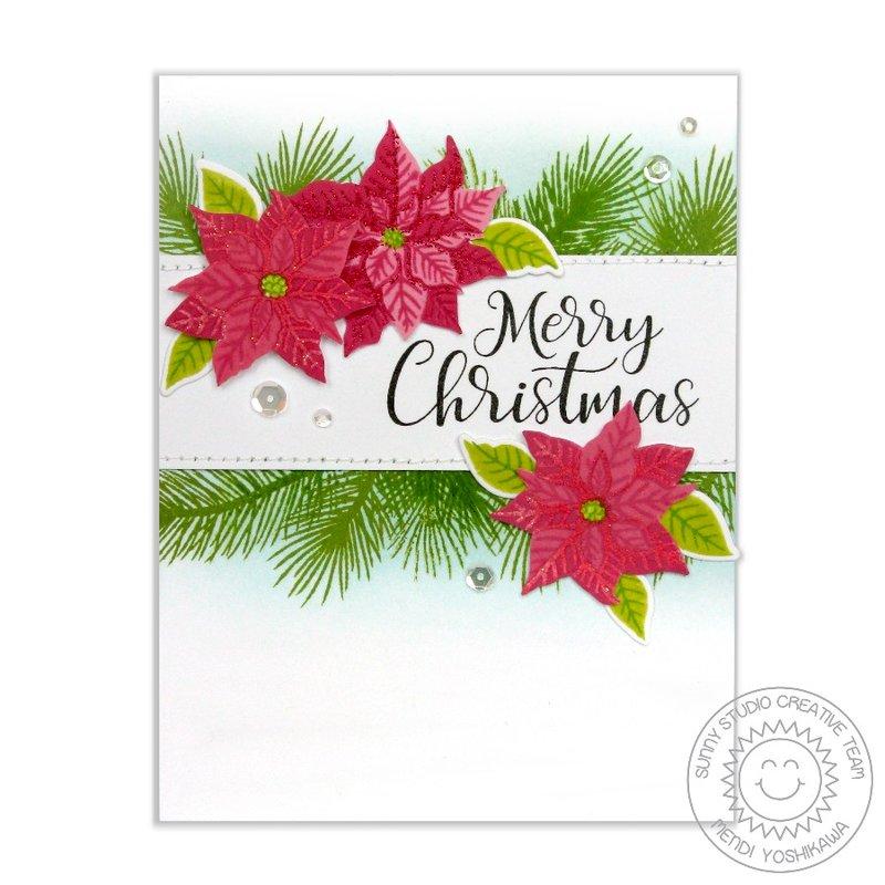 Sunny Studio Petite Poinsettias Christmas Card by Mendi Yoshikawa